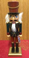 Hand Painted Wooden Nutcracker Traditional Christmas Ornament ~ Brown Hat & Sword